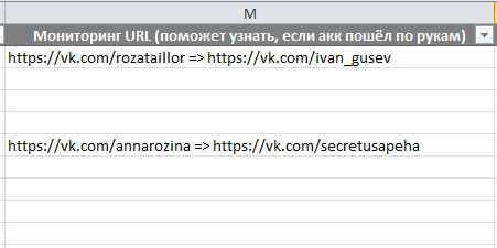Автоматический мониторинг фамилии, имени и URL аккаунта